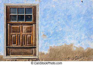 blu, marrone, vecchio, parete, fondo, porta