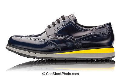blu, maschio, cuoio, scarpe tennis, isolato, bianco