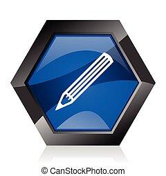 blu, matita, diamante, riflessione, web, moderno, button., scuro, fondo., bianco, vettore, disegno, lucido, internet, esagonale, esagono, geometrico, icona