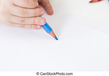 blu, matita, fine, bambino primi passi, disegno