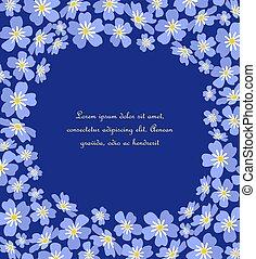 blu, me, dimenticare, vettore, non, fiori