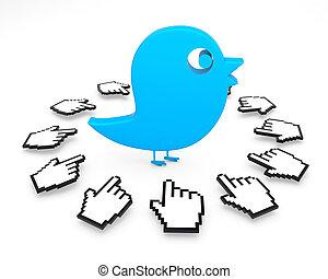 blu, media, uccello, sociale