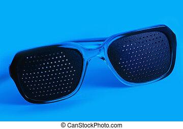 blu, medico, occhiali, sfondi, buco