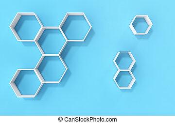 blu, mensole, parete, parete, interpretazione, esagono, vuoto, 3d