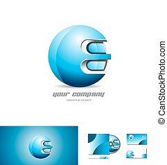 blu, metallo, sfera, disegno, logotipo, 3d