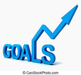 blu, mete, parola, mostra, obiettivi, speranza, e, futuro