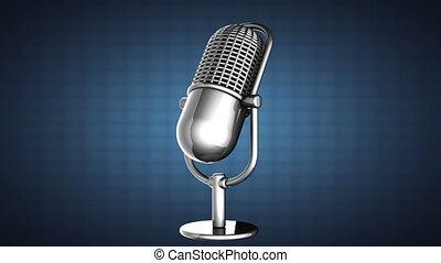 blu, microphone, tourner, retro, boucle