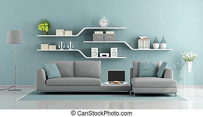 blu, minimalista, salotto, grigio