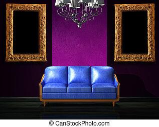 blu, minimalista, sofà cuoio, candeliere, lusso, interno