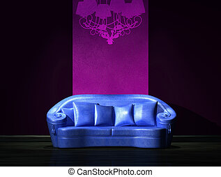 blu, minimalista, viola, divano, parete, parte, interno