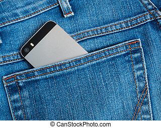 blu, mobile, jeans, grigio, tasca posteriore, telefono, macchina fotografica