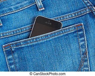 blu, mobile, jeans, tasca posteriore, telefono, macchina fotografica, nero