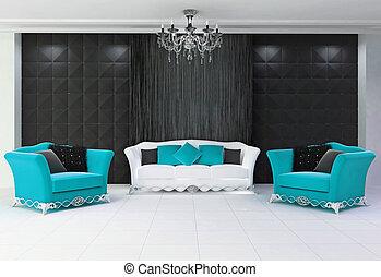 blu, mobilia moderna, divano, conforto, aqua, due, interno, ...
