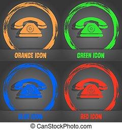 blu, moda, moderno, telefono, arancia, vettore, retro, verde, icon., style., rosso, design.