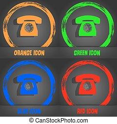blu, moda, moderno, telefono, simbolo., arancia, vettore, retro, verde, icona, style., rosso, design.