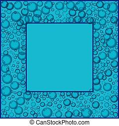 blu, modello, cornice, galleggiante, o, fondo., soda, bolle, sapone