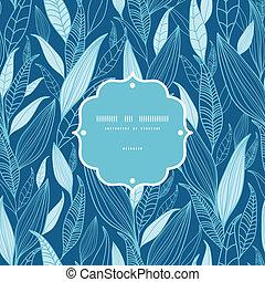 blu, modello, foglie, seamless, fondo, bambù, cornice