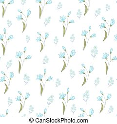 blu, modello, poco, flowers., seamless