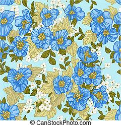 blu, modello, wildflower, seamless