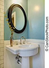 blu, moderno, classico, bathroom., nuovo, bianco