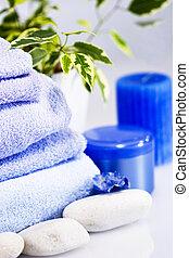 blu, moisterising, terme, candela, asciugamani, crema