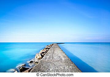 blu, molo, acqua oceano, concreto, pietre, banchina, o