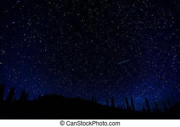 blu, molti, cielo notte, scuro, fondo., inizi, cosmo