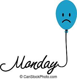 blu, monday., depressivo, la maggior parte, year., giorno