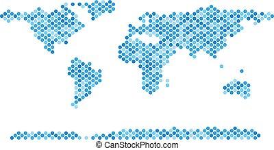 blu, mondo, continente, puntino, mappa