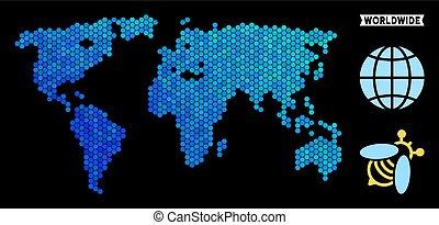 blu, mondo, esagono, mappa
