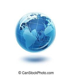 blu, mondo, vetro