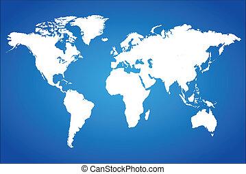blu, mondo, vettore, illustrazione, mappa