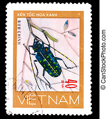 blu, monete, circa, 1981, francobollo, scarabei, -, 40,...