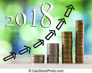 blu, monete, frecce, grafico, sfavillante, bokeh, verde, 2018, fondo, crescente, accatastare