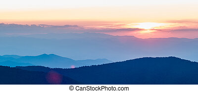blu, montagne, cresta,  appalachian, sopra, autunno, tramonto, viale