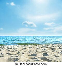 blu, morbido, sky., sole, fuoco, spiaggia sabbia