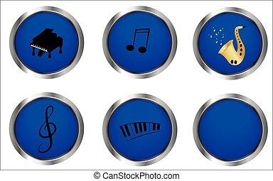 blu, musica, bottoni