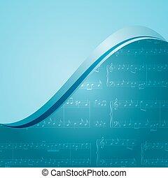 blu, musica, fondo, -, vettore, modello