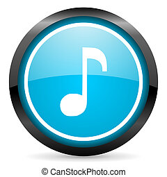 blu, musica, lucido, fondo, cerchio, bianco, icona