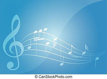 blu, musica, vettore, fondo, con, note
