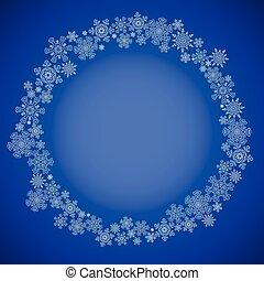 blu, natale, cornice, con, fiocchi neve, cerchio