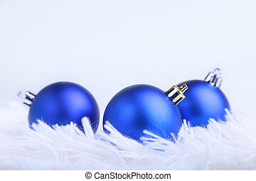 blu, natale, palle, snowflakes., penne, billowy, neve,...