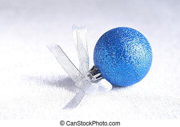 blu, natale, palle, snowflakes., penne, billowy, neve,...