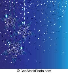 blu, natale, stella, ornamenti