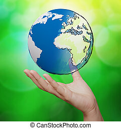 blu, natura, globo, contro, sfondo verde, terra, 3d
