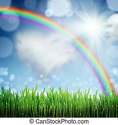 blu, natura, primavera, cielo, indietro, fondo, erba