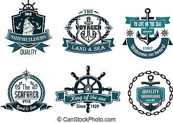 blu, navigazione, icone, themed, nautico, bandiere, o