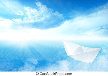 blu, navigazione, oceano, carta, bianco, barca