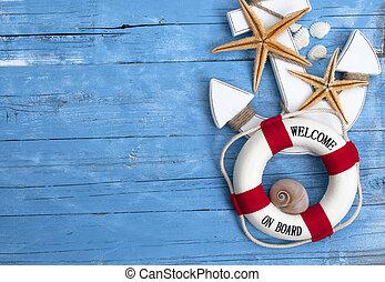 blu, navigazione, sgusciare, deriva, marittimo, starfish, decorazione, legno, rete pesca, nave