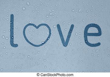 "blu, nebbioso, finestra, parola,  ""love"""